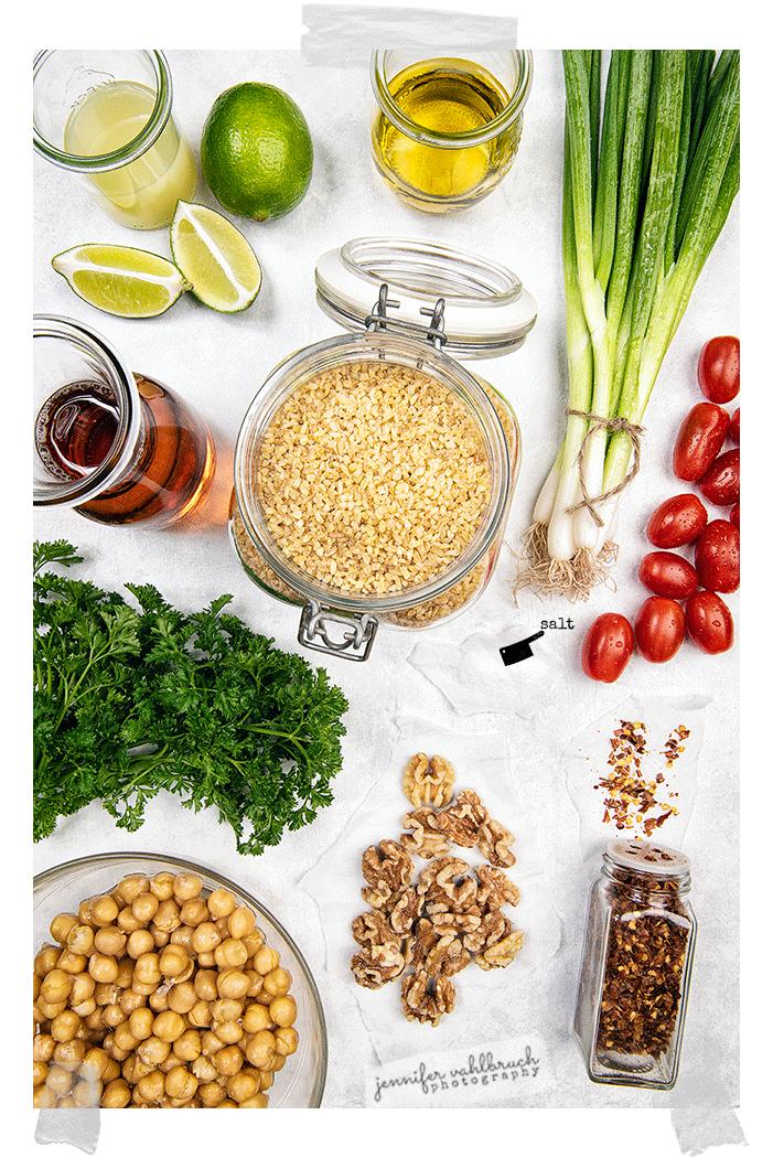 Chick Peas Bulgur Salad - Ingredients - Jennifer Vahlbruch