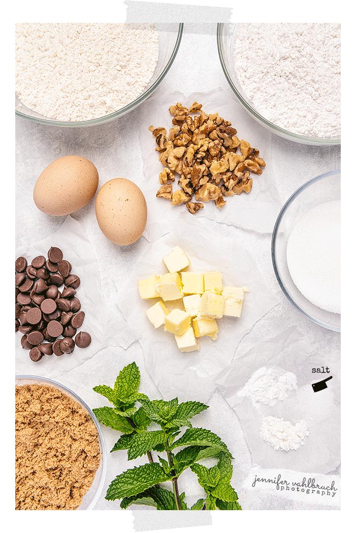 Chocolate Chip Mint Cookies - Ingredients - Jennifer Vahlbruch