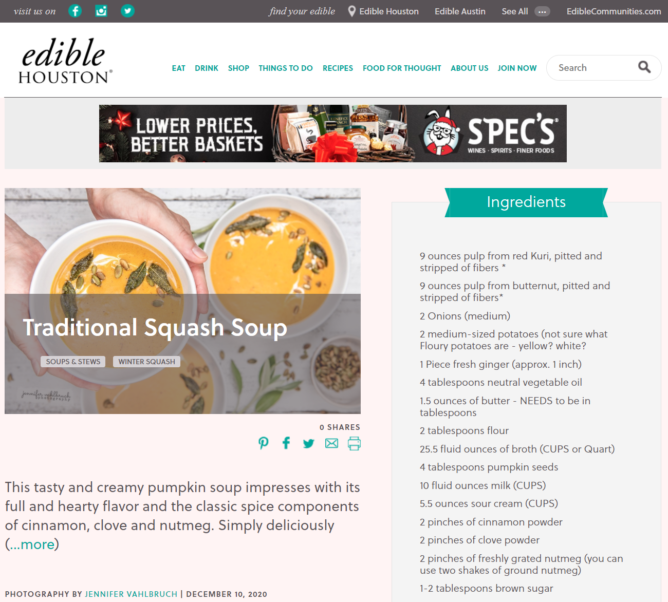 Traditional Squash Soup - Edible Houston