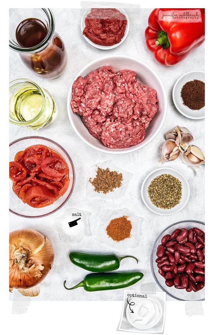 Chili con Carne - Ingredients - Jennifer Vahlbruch